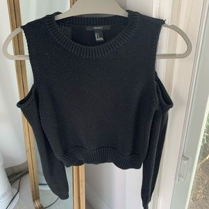 Cropped cold shoulder sweater